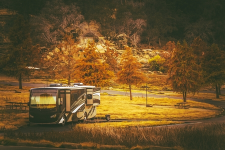 Motorcoach Camping Time. Class A Diesel Pusher Motorhome in the RV Park. Rving in Style.
