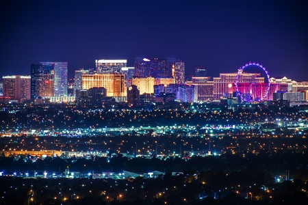 Nevada USA City of Las Vegas Skyline and Cityscape at Night.