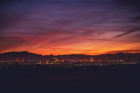 World Famous Sin City. Las Vegas Nevada, United States of America. City Panorama at Dusk.