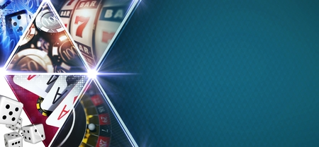 Casino Games Mosaic Banner with 3D Rendered Gambling Elements Like Roulette,Slot Machines, Blackjack Playing Cards and Chips. Blue Texture Right Side Copy Space. Stock Photo