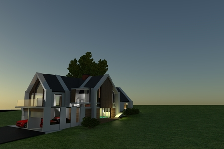 Single Family House 3D Visualization Project. Residential Construction Idea. House Concept.