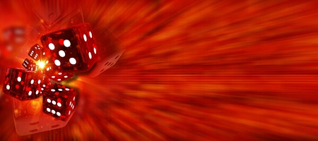 Craps Red Dices Shooting Banner. 3D Rendered Casino Game Background Illustration with Copy Space. Stock Photo