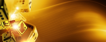 Golden Casino Craps Background Banner. 3D Rendered Illustration with Glassy and Gold Dice. Right Side Copy Space.