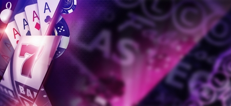 Purple Casino Banner Concept. 3D Rendered Illustration of Casino Money Games Like Poker Cards and Slot Machine with Copy Space and Las Vegas Strip Sign Elements. Archivio Fotografico