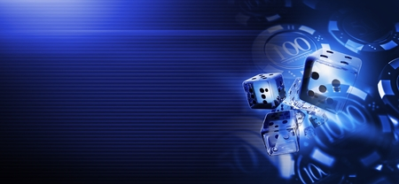 Deep Blue Casino Craps Dices Banner Background 3D Rendered Illustration with Copy Space. Casino Gambling Backdrop. Stock Photo