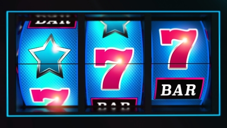 Casino Lucky Blue Slot Reels with Pink Seven Symbols 3D Rendered Concept Illustration. Triple Reels Slot Machine