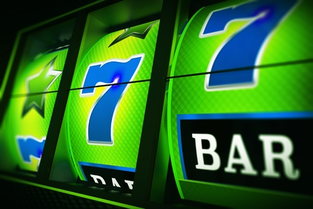 Green Blue Slot Machine 3D Rendered Closeup Illustration with Depth of Field. Lucky One Handed Bandit. Las Vegas Triple Seven.  Stock Photo