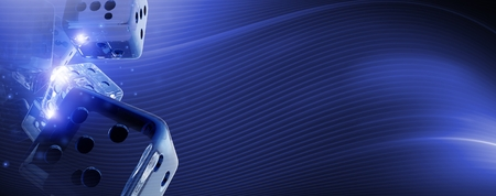 Glassy Craps Dices 3D Rendered Banner Illustration. Cool Blue Casino Games Backdrop.