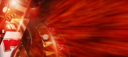 Hot Red Casino Banner Concept with 3D Rendered Casino Games Elements Like Slot Machine, Roulette Wheel and Gambling Chips. Horizontal Banner Background with Right Side Copy Space.