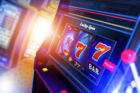 Slot Machine 3D Rendered Illustration Closeup. Casino Games Concept. Lucky One Handed Bandit. Banco de Imagens - 95162389
