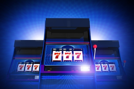 Triple Seven Casino Slot Machines Lucky Game. Glowing Blue Background. 3D Rendered Illustration Concept.