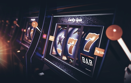 Row of Vegas Slot Machine 3D Rendered Illustration with Depth of Field. One Handed Bandits Casino Games. Reklamní fotografie
