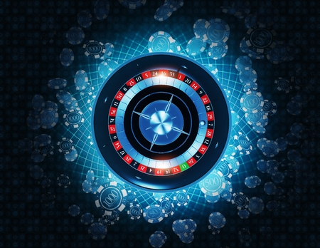 Casino Roulette and Gambling Chips Top View 3D Concept Rendered illustration.