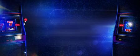 Het Concept van de de Banner 3D Illustratie van gokautomaatspelen met de Ruimte van het Centrumexemplaar. Klassieke slots aan de zijkanten. Donkerblauwe kleuren.