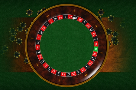 Copy Space Roulette Wheel. 3D Rendered Illustration of Vegas Style Roulette with Center Copy Space.