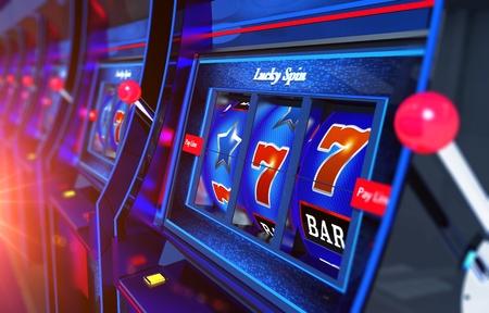 Row of Slot Machines 3D Rendered Illustration. Vegas Gambling Concept.