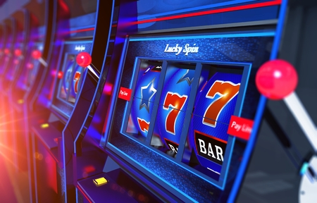 Row of Slot Machines 3D Rendered Illustration. Vegas Gambling Concept.
