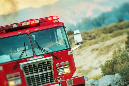 Fire Truck Rescue Operation. Firefighting Theme. California, United States. Reklamní fotografie