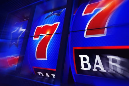 Spinning Slot Machine 3D Rendered Illustration. Slot Reels Closeup. Vegas Casino Gambling.