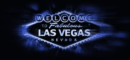 Las Vegas Welcome Sign Conceptual Illustration. Blue Glowing Famous Vegas Strip Sign on Solid Black Background