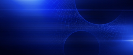 Glowing Blue Mesh Banner. Modern Technology Conceptual Background Illustration.