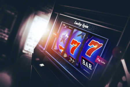 Casino Slot Machine 3D Rendered Illustration. Lucky Triple Seven Spin. Las Vegas Style One Handed Bandit Machine.