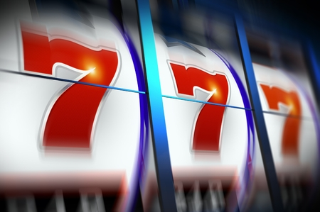 Triple Seven Lucky Slot Machine Game in Motion. Casino Concept Illustration 3D Rendered.
