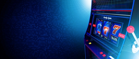 Casino Slot Machine Game Banner with Copy Space. Dark Blue Theme.