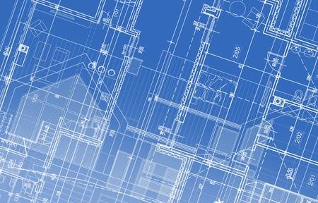 House Project Blueprint Background Illustration. Architectural Backdrop