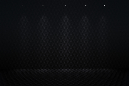 Illuminated Black Carbon Background by Few Spotlights. 3D Render Illustration. Imagens - 98757236