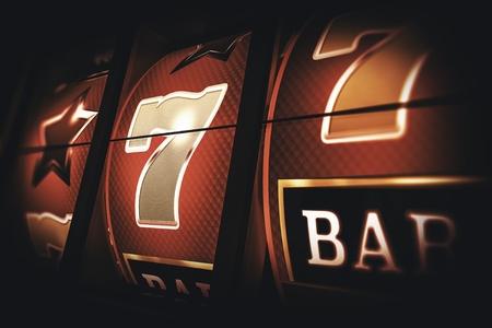 Vintage Slot Machine Game. Classic Slots Closeup 3D Rendered Illustration.