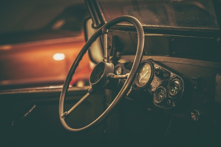 Aged Classic Car Interior Vintage Vehicle Restoration Theme
