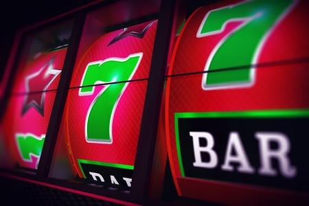 Lucky Slot Jackpot Spin 3D One Handed Bandit Casino Game Render Illustration.