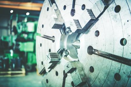 Heavy Duty Lathe Machine Wheel. Modern Metalworking Industry Machinery.