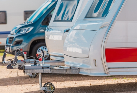 RV Camping Storage. Secured Parking Lot For Recreational Vehicles. Stock Photo