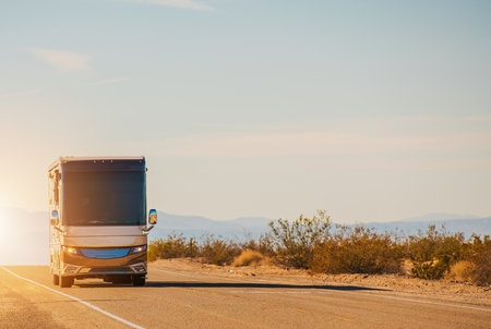 RV Motorcoach Road Trip. Class A Diesel Pusher on the California Deseret Highway. Travel in Style. United States of America.