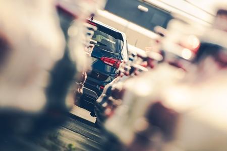 Dealership Cars Alley and the Modern Sport Utility Car at the End. Automotive Theme. Vehicle Dealer Lot. Reklamní fotografie