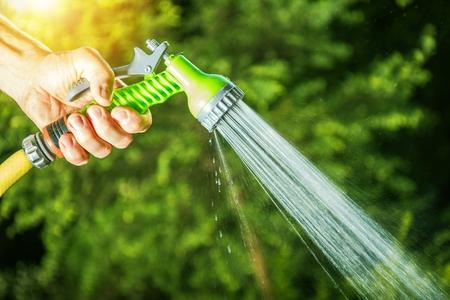 Garden Watering Using Garden Hose Head Sprayer. Nozzle Closeup Photo