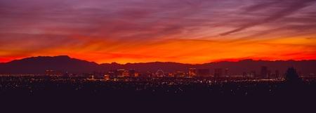City of Las Vegas, Nevada Sunset Panorama. Famous Sin City. United States of America.