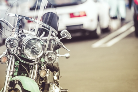 Classic Motorcycle on the Parking Spot. Closeup Photo.