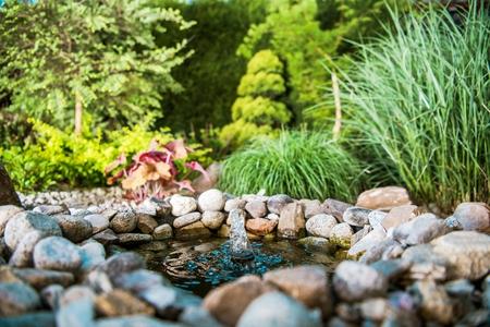 Little Rocky Garden Pond with Small Fountain in the Beautiful Backyard Garden.