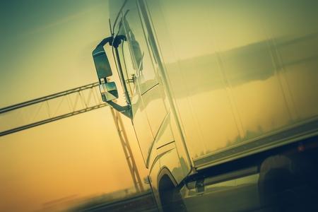 Truck Cargo Shipping. Speeding Semi Truck on the European Highway.