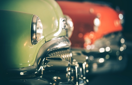 Classic Cars Auction. Row of Retro Vehicles Set For Sale. Automotive Industry.