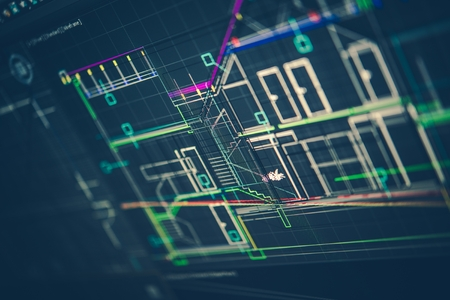 Architectural Technical Drawing on the Computer Screen. New House Design. Фото со стока