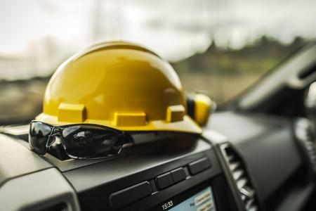 Hard Hat Construction Zone. Head Safety Equipment. Reklamní fotografie