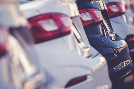 Car Sales Automotive Theme. New Cars in Stock. Reklamní fotografie
