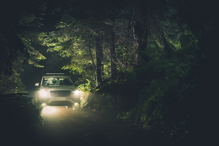 NIght Drive Trough the Forest. White All Wheel Drive Sport Utility Vehicle on the Wet and Rocky Wilderness Road.