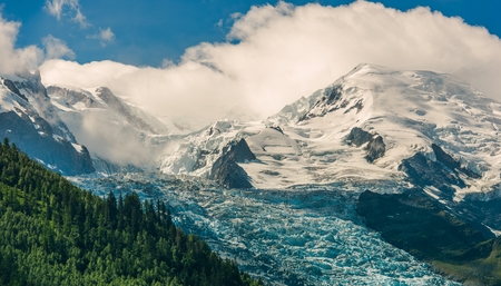 Scenic Alpine Landscape. Mont Blanc Massif Covered by Ancient Glaciers. Chamonix, France. Reklamní fotografie
