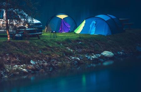 Waterfront Tent Camping Spot. Norwegian Nights. Scandinavian Travel Theme.