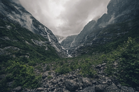 Rainy Glacier Landscape in the Middle of Norway. Raw Norwegian Scenery.